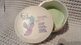 I love these pads from Avon's Foot Works range. I use one pad per foot mostly on the heels where I have the most dryness and then I follow up with a body butter and put on heavy socks. These work. I have about 8 jars in my stash so I should use some up.