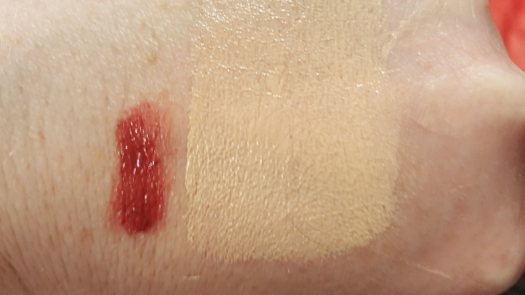 Swatches of the Kiss Plumping Lip Creme in 535 Spiced Berry and ColorStay Makeup Combination/Oily SPF 15 in 110 Ivory